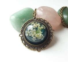Viridian green real flower necklace