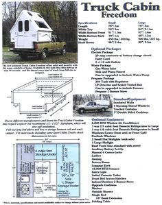 Info regarding the A-Frame folding camp trailer on a pickup bed