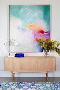 Abstract Art - Acrylic Painting - Wall Art - Wall Decor Beautiful large scale Australian art styled perfectly with a big bunch of wattle. That geometric rug is a great choice, picking up the aqua and blue tones from the painting. Diy Wand, Arte Pallet, Art Decor, Decoration, Home Decor, Big Wall Art, 3d Wall, Australian Art, Wall Art Designs