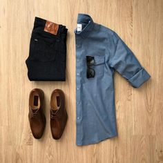 The best way to dress up for any occasion is by pairing a simple denim shirt with Denims ! Men Fashion The best way to dress up for any occasion is by pairing a simple denim shirt with Denims ! Mens Fashion, Fashion Outfits, Fashion Ideas, Fashion 2018, Stylish Outfits, Fashion Clothes, Denim Shirt Men, Denim Man, Casual Wear For Men