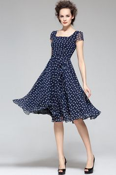 Square Collar Apple Pirnt Chiffon Dress. Love the shape, style, and proportion of this dress. Maybe not the blue for the wedding.