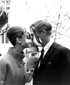 Audrey Hepburn and George Peppard on the set of Breakfast at Tiffany's.