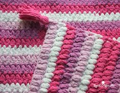 Bernat Blanket Stripes Crochet Cluster Stitch Afghan - Repeat Crafter Me