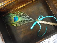 Stylish Burlap Peacock Feather Wedding Pen for by hanscreations, $11.99