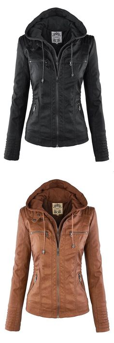 Casino outfit · fashion zipped jacket with removable hood hooded leather jacket, brown leather jackets, leather jacket Mode Outfits, Casual Outfits, Fashion Outfits, Womens Fashion, Jackets Fashion, Fall Winter Outfits, Autumn Winter Fashion, Herren Style, Mein Style