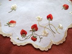 Antique Vintage Society Silk Linen Doily Embroidered Strawberries