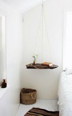 diy ideen nachttisch selber bauen hängend holz rustikal