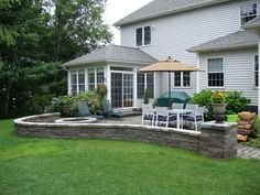 Outdoor Living (10) Patio with fire pit and sitting wall.jpg 800×600 pixels
