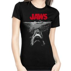 BLACK AND WHITE JAWS POSTER WOMENS TEE | Rock Rebel