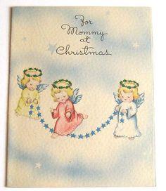 Vintage  Christmas Card - jump roping angels