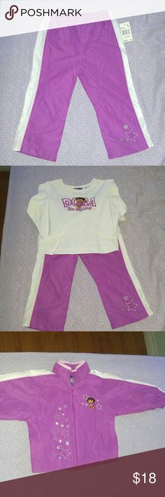 Sale🎈Nick Jr. Dora The Explorer 3 piece set *NWT 3 piece set comes with the jacket, long sleeve shirt and pants  size 2T. Great for winter. Nick Jr. Matching Sets
