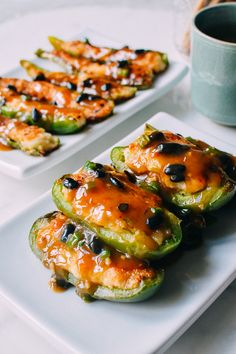 Chinese stuffed peppers with black bean sauce are a dim sum staple and surprisingly simple to make at home. In our family's recipe, we use a shrimp filling.