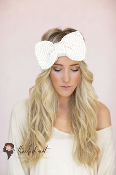 Ivory Knitted Bow Headband Knitted Headband Ear Warmer with Large Oversized Knitted Bow by ThreeBirdNest