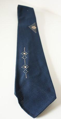 Vintage 1950s Blue Tie with Geometric Tie by VarietyVintagebyALD, $18.50