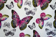 A butterfly toile fabric in spring colors of violet pink, blue, and green. For those that love butterflies! #fabric #sewing #toile #butterfly #butterflies #pink #insect #houzz #interior_design #upholstery_fabric #homedec #homedecor #home_decorating