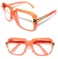 4d7dc2bbb5a9 Men s Women s Vintage 607 Hip Hop Clear Lens Eye Glasses Run DMC Orange  Gold 80s  Stars  Square