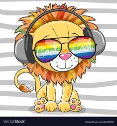 Cute Lion with sun glasses. Cool Cartoon Cute Lion with sun glasses vector illustration Kids Cartoon Characters, Cartoon Lion, Cute Cartoon Girl, Cute Cartoon Animals, Baby Cartoon, Cartoon Drawings, Animal Drawings, Lion Drawing, Cute Lion