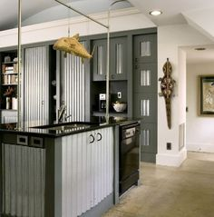 Corrugated kitchen in South Carolina. by Jane and Michael Frederick. f-farchitects.com