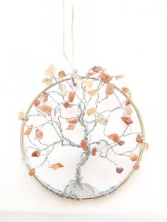 Fire Agate Suncatcher, Tree of Life Hanging, Wire Tree Sculpture, Friendship Gifts, Mothers Day Gifts, Home Decor by SpiritGemDesigns on Etsy