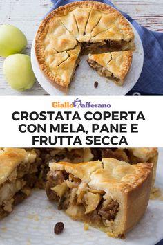CROSTATA COPERTA CON MELA, PANE E FRUTTA SECCA: una torta rustica, sostanziosa e dai sapori genuini. Super golosa e facile da preparare, porta in tavola un dolce d'altri tempi! #crostata #mele #mela #pane #frutta #secca #tart #pie #apple #bread #dry #fruit #dolce #sweet #dessert #easy #recipe #ricetta #facile #veloce #giallozafferano [Easy apple, bread and dry fruit pie recipe] Apple Pie, Pizza, Watches, Eat, Desserts, Christmas, Food, Deserts, Recipes