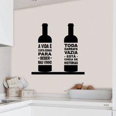 Garrafas de vinho autocolante decorativo de cozinha