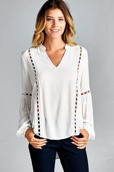 Long sleeve peasant top with collar v-neckline and lace trim cutouts on the body and sleeves. Sexy and sophisticated, it's perfect for any occasion or season. An SMB Fav by(Peasant Top Outfit) Casual Hijab Outfit, Casual Skirt Outfits, White Shirts Women, Blouses For Women, Peasant Tops, Tunic Tops, Womens Trendy Tops, Unique Clothes For Women, Mode Plus