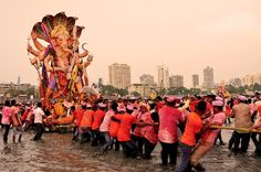 The ten-day-long Ganesh Chaturthi festival, which marks the birthday of Lord Ganesh, by the Arabian Sea