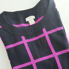j crew// windowpane sweater Merino wool sweater. In absolutely perfect condition. This hangs in my closet the majority of the year, but I'm attached to it, so I am hesitant to sell. Price firm unless bundled. Deep navy that could probably pass as black with bright pink stripes. From factory. J. Crew Sweaters Crew & Scoop Necks