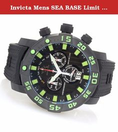 Invicta Mens SEA BASE Limit Ed Swiss Made Quartz Black & Green Watch 14250. Sea Base from Invicta features a diver's watch that is as functional as it is handsome. It has a black textured polyurethane strap that is paired nicely with its textured black dial that makes the neon colors of the timepiece really pop. It has a chronograph, four subdials and 1000m of water resistance along with a unidirectional bezel and a titanium case. Complete your collection today.