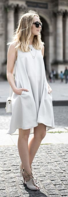 Light Grey Flowy Dress Styling by Tiphaine's Diary