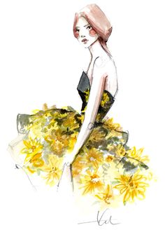 yellow lace or flowers (daisies?) trailing up a leather blk edgy dress