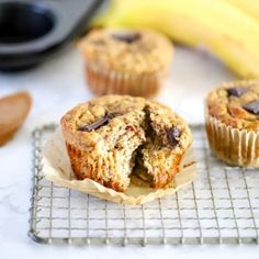 Sweetened only with ripe bananas, these healthy Banana Almond Butter Muffins are a delicious recipe you'll make again and again. Perfect for snacks for grab and go breakfasts. They're gluten-free and dairy-free, too! Other Recipes, My Recipes, Oreo Bark, Oreo Fudge, Tasty Meatballs, Sugar Scrub Recipe, Magic Recipe, Baked Banana, Thing 1