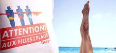 attention! Aux filles de la plage! A la chicas de la playa. T-shirt de femme, camiseta de chica.