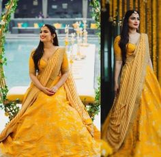 Shine like the sun in this banglori silk lehenga choli with golden embroidery work. Comes with matching choli and georgette dupatta. For a stylish look wear this set of lehenga choli. Quality is worth paying. Lehenga Choli Designs, Ghagra Choli, Lehenga Choli Online, Bridal Mehndi Dresses, Mehendi Outfits, Bridal Lehenga, Sangeet Outfit, Wedding Dresses, Yellow Lehenga