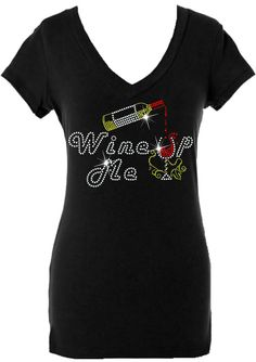 Wine Me Up Ladies V-neck Rhinestone/stud Shirt – Fan Bling HQ