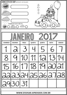 CALENDÁRIOS 2017 PARA CADERNO TEMA CIRCO E PALHAÇOS