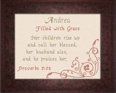 Andrea - Name Blessings Personalized Cross Stitch Design from Joyful Expressions Cross Stitch Designs, Cross Stitch Patterns, Religious Cross, Names With Meaning, Easter Decor, Christian Faith, Just Giving, Gifts For Family, Nice Things