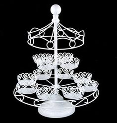 White Iron Carousel Cupcake and Dessert Stand HOLDS 12 Circus Carnival Party