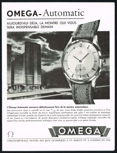 Vintage 1947 Omega Automatic Watch Mid Century Modern Art Print Ad. #omega #automatic #watch #watches #vintage #ads #stawc