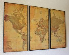 3 Panel Vintage World Map Canvas Wall Art by Just Two Crafty Sisters.  Great idea for living room decor.