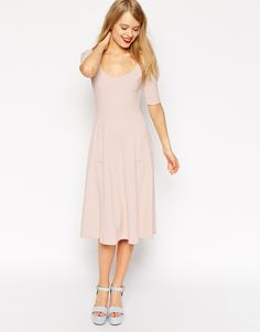 Image 1 of ASOS Midi Texture Skater Dress with Half Sleeve