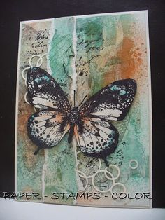 PAPER - STAMPS - COLOR: Embossed butterfly