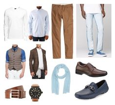 sky blue men by siahaanastrid on Polyvore featuring Denham, H&M, Brunello Cucinelli, Levi's, Salvatore Ferragamo, Hush Puppies, malo, Shinola and Maison Margiela