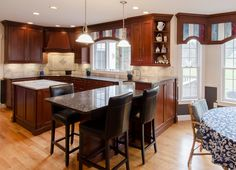 Contemporary Kitchen and Bath Designs and Idea Cherry Wood Kitchens, Cherry Wood Cabinets, Cherry Kitchen, Wood Kitchen Cabinets, Dream Kitchens, Corner Sink Kitchen, Kitchen And Bath Design, Kitchen Sinks, Home Remodeling