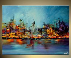 Original Abstract Painting Cityscape Art Palette by OsnatFineArt, $620.00