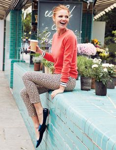 Bold color + pattern pants