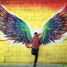Sayap Graffiti Wall Art, Murals Street Art, Mural Art, Angel Wings Painting, Angel Wings Art, Dibujos Tumblr A Color, My Art Studio, Wall Drawing, Art For Art Sake