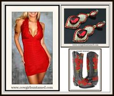 GET the LOOK at COWGIRLS UNTAMED! Sexy Red Lace Dress Red Crystal Earrings Embroidered Red Roses on Black GENUINE LEATHER Boots COWGIRLS UNTAMED ~ Fashion For Your Cowgirl Gypsy Rebel Soul www.cowgirlsuntamed.com #SALE #DISCOUNT #rhinestone #bling #clothing #dress #lace #boots #fashion #feather #jewelry #cowgirl #western #beautiful #boutique #cowboyboots #horse #Rodeo #party #sexy #deepv