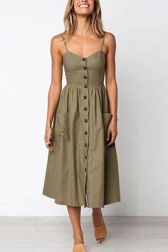 1a2c011fb5 Venidress Striped Single-Breasted Mid Calf Dress - VENI