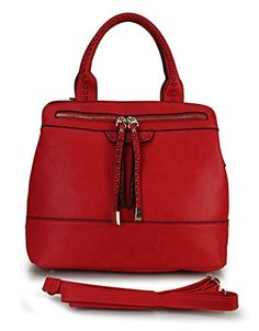 Rimen & Co. Front Double Zippers Divided Compartments Causal Tote Handbag (Red New)
